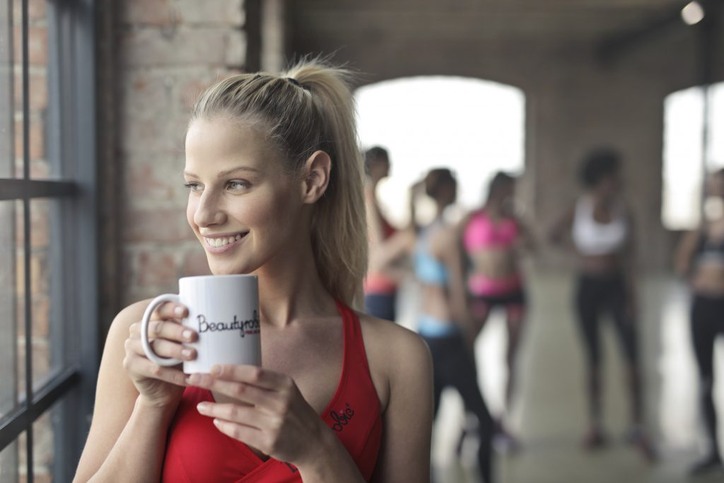 woman taking a break with her coffee