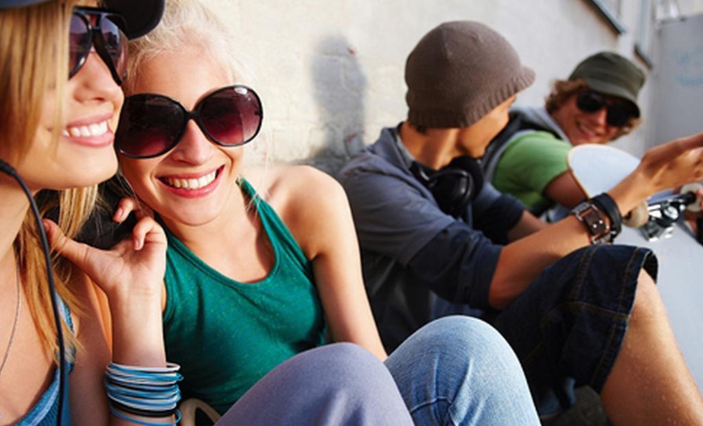 happy people wearing sunglasses