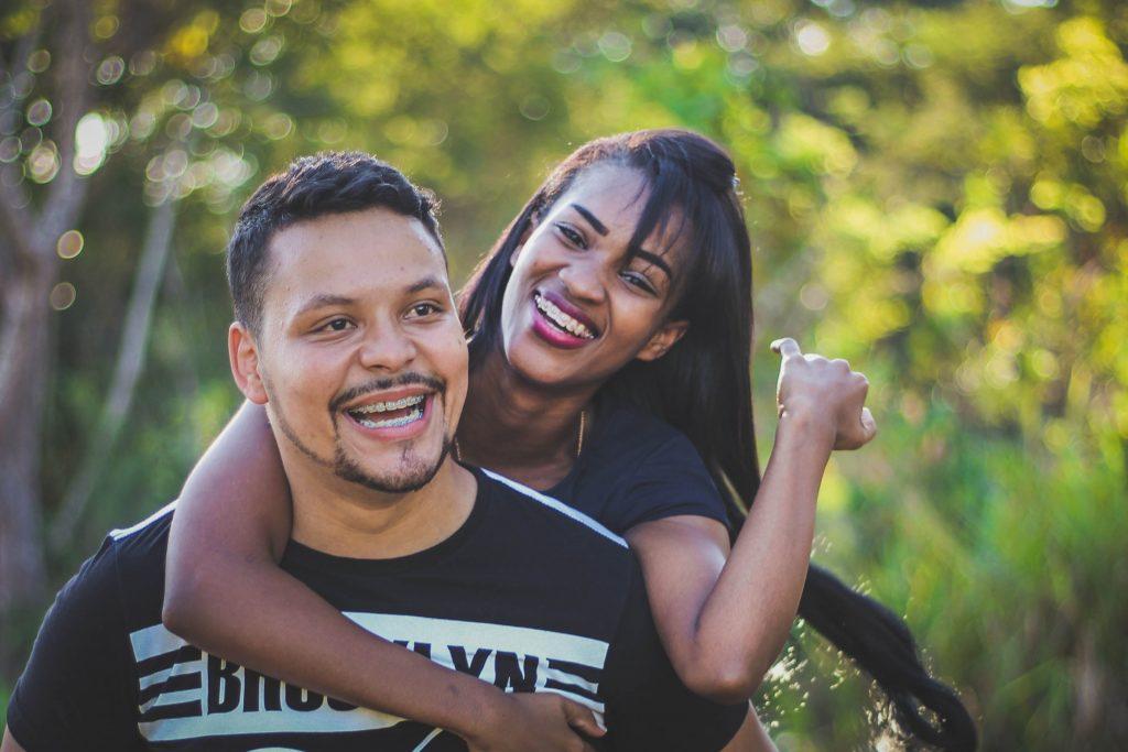 happy couple with braces